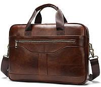 Деловая мужская сумка из зернистой кожи Vintage 14837 Коричневая, фото 1