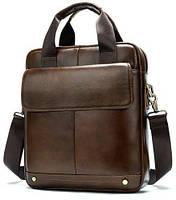 Вертикальная сумка мужская Vintage 14877 Коричневая, фото 1