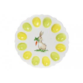 Тарелка для 12 яиц керамическая зайчик с морковкой 31,5 см BonaDi 733-324