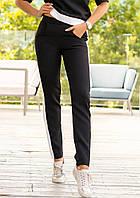Модные женские брюки с поясом на резинке и лампасами