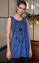 Майка-туника женская синяя 55177