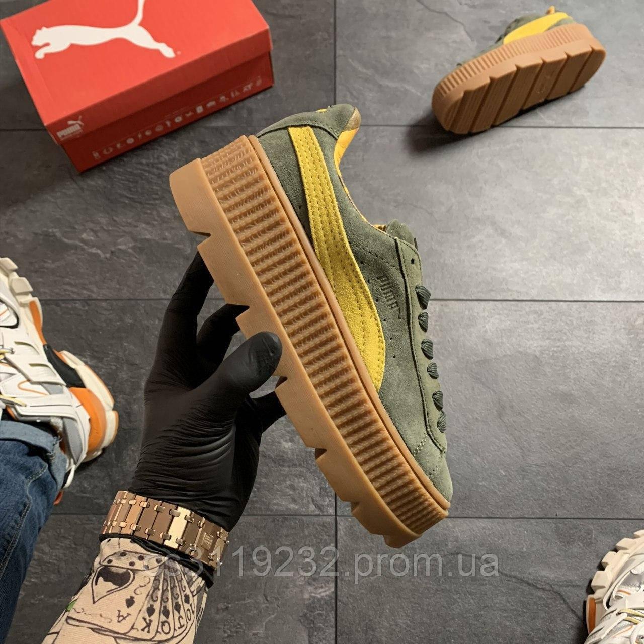Женские кроссовки Puma Rihanna Suede Platform Green (зелёные)