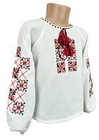 Вишита блуза для дівчинки на довгий рукав домоткане полотно