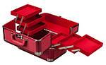 Эксклюзивный алюминевый кейс для косметики с выдвижными полками, цвет - красный ,кожа крокодила., фото 2