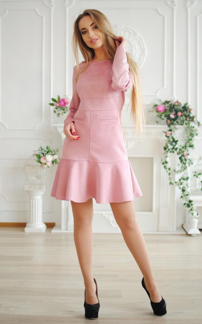 Замшевое платье рюша