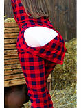 Пижама Попожама Ярко красная в клеточку женская с карманом на попе, фото 3