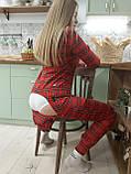 Пижама Попожама Ярко красная в клеточку женская с карманом на попе, фото 7