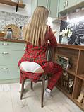 Пижама Попожама Ярко красная в клеточку женская с карманом на попе, фото 8