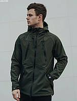 Весенняя куртка хаки (зеленый) с микрофлисом Staff soft shell haki ros LBL0100