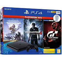 Sony PlayStation 4 Slim 1TB (Black) + GRAN TURISMO SPORT + HORIZON: ZERO DAWN + UNCHARTED 4, фото 1
