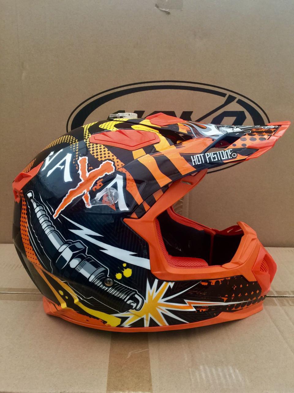 Мото кроссовый шлем Naxa (Испания) черно-оранжевый