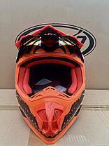 Мото кроссовый шлем Naxa (Испания) черно-оранжевый, фото 3