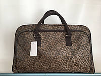 Сумка-саквояж дорожная женская коричневая средняя текстильная