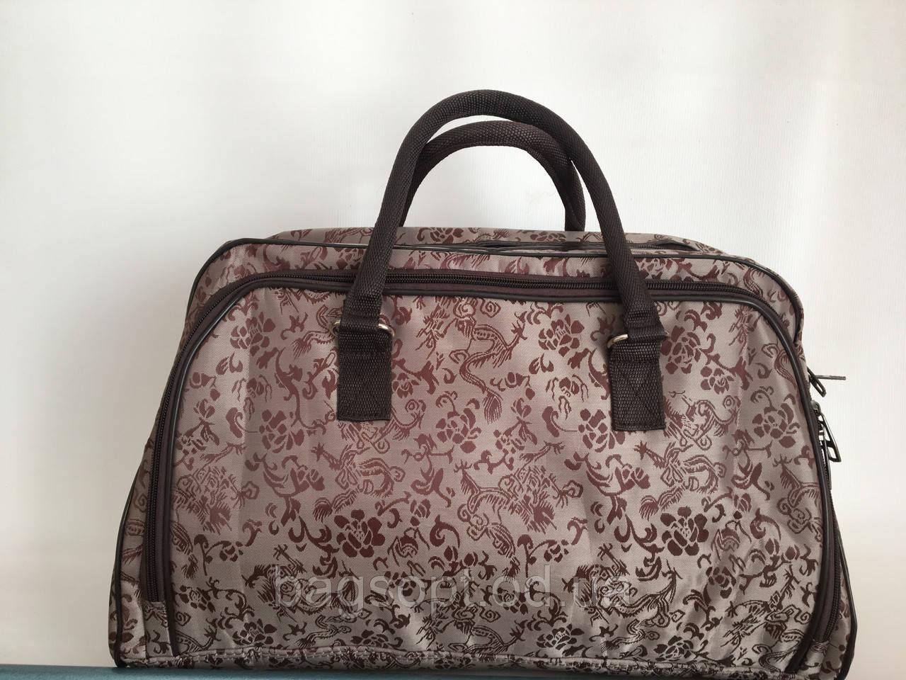 Коричневая дорожная женская сумка-саквояж средняя вместительная