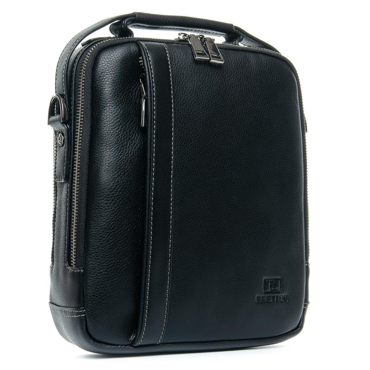 Мужская кожаная сумка планшет BRETTON черного цвета
