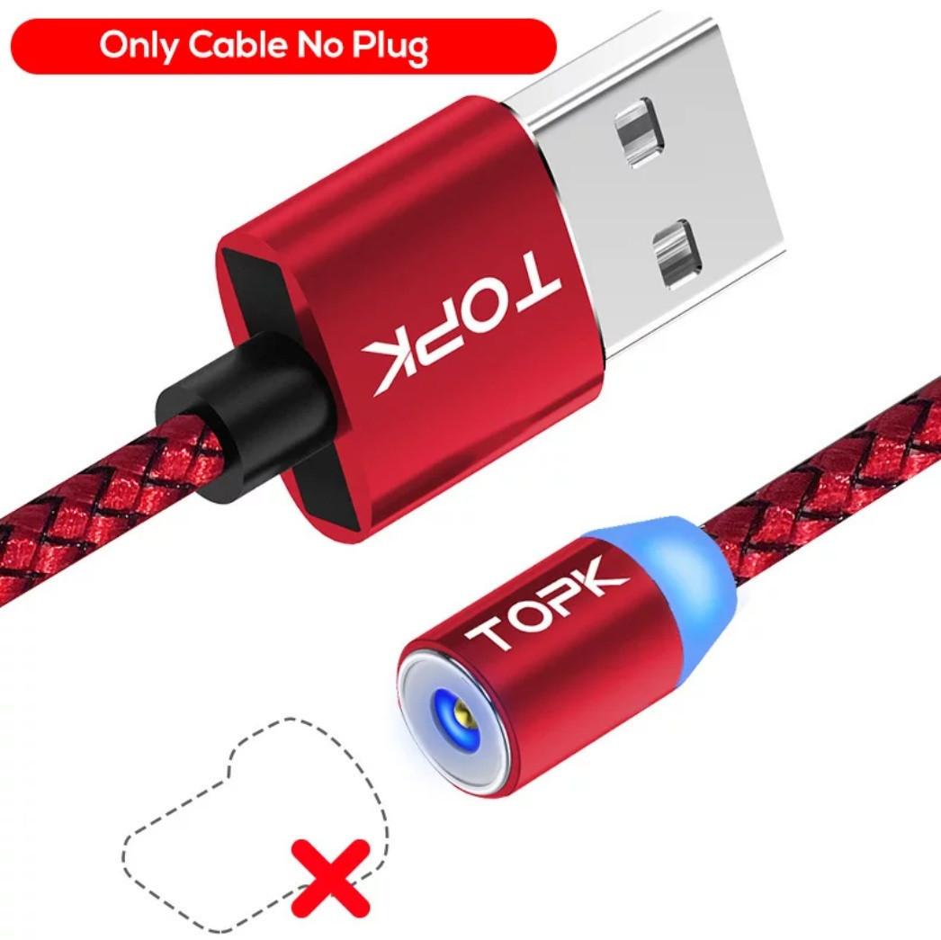 Магнітний USB кабель TOPK без конектора Червоний 2 метра