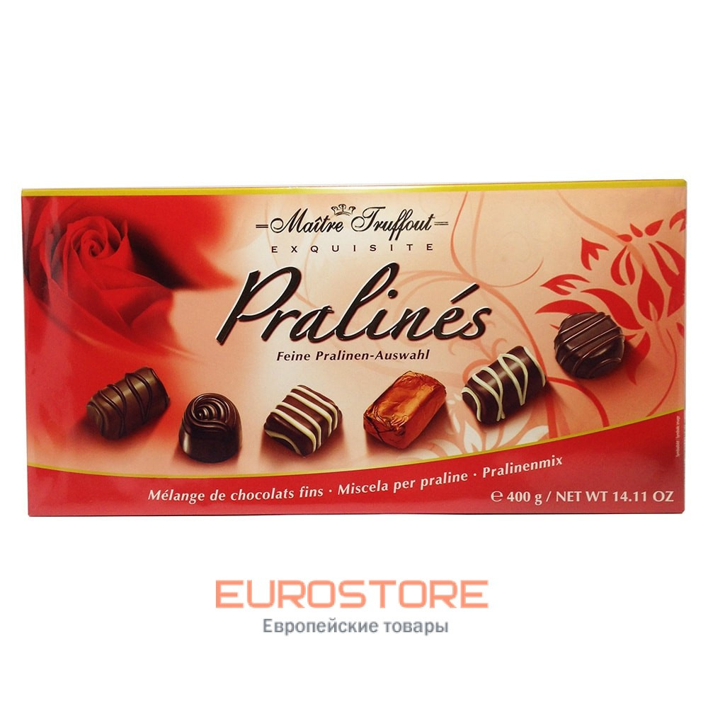 Шоколадные конфеты в коробке (красная) Maitre Truffout Pralines, 400г