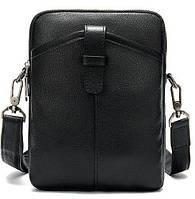 Компактная мужская сумка кожаная Vintage 14885 Черная, фото 1