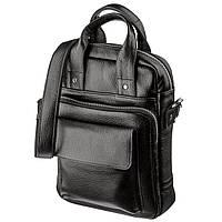 Мужская сумка вертикального формата SHVIGEL 11167 под А4 Черная флотар, Черный, фото 1