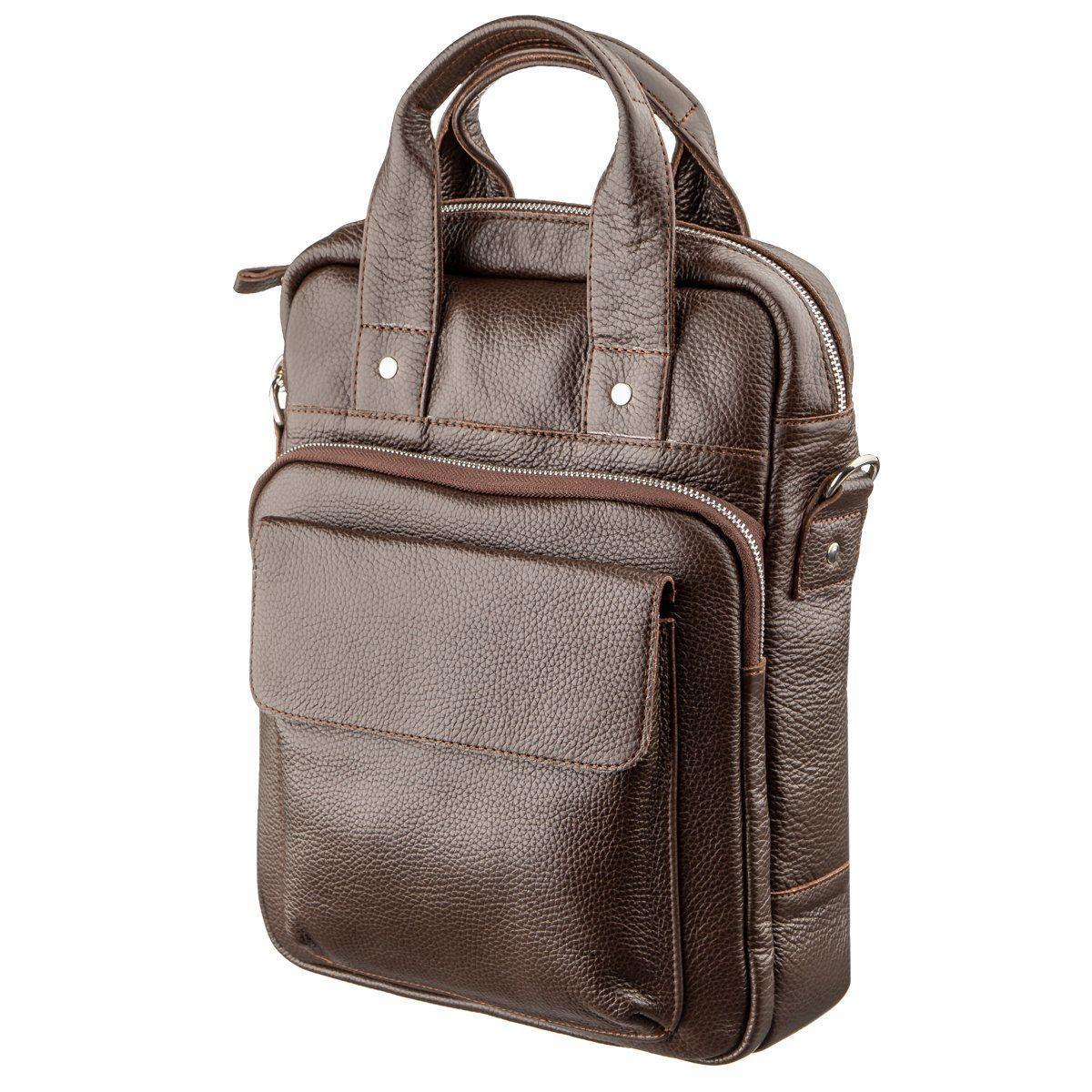 Качественная мужская сумка вертикального формата SHVIGEL 11168 под А4 Коричневая флотар, Коричневый