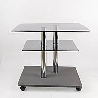 Скляний журнальний стіл прямокутний Commus Bravo Light P6 clear-gray-2chr50