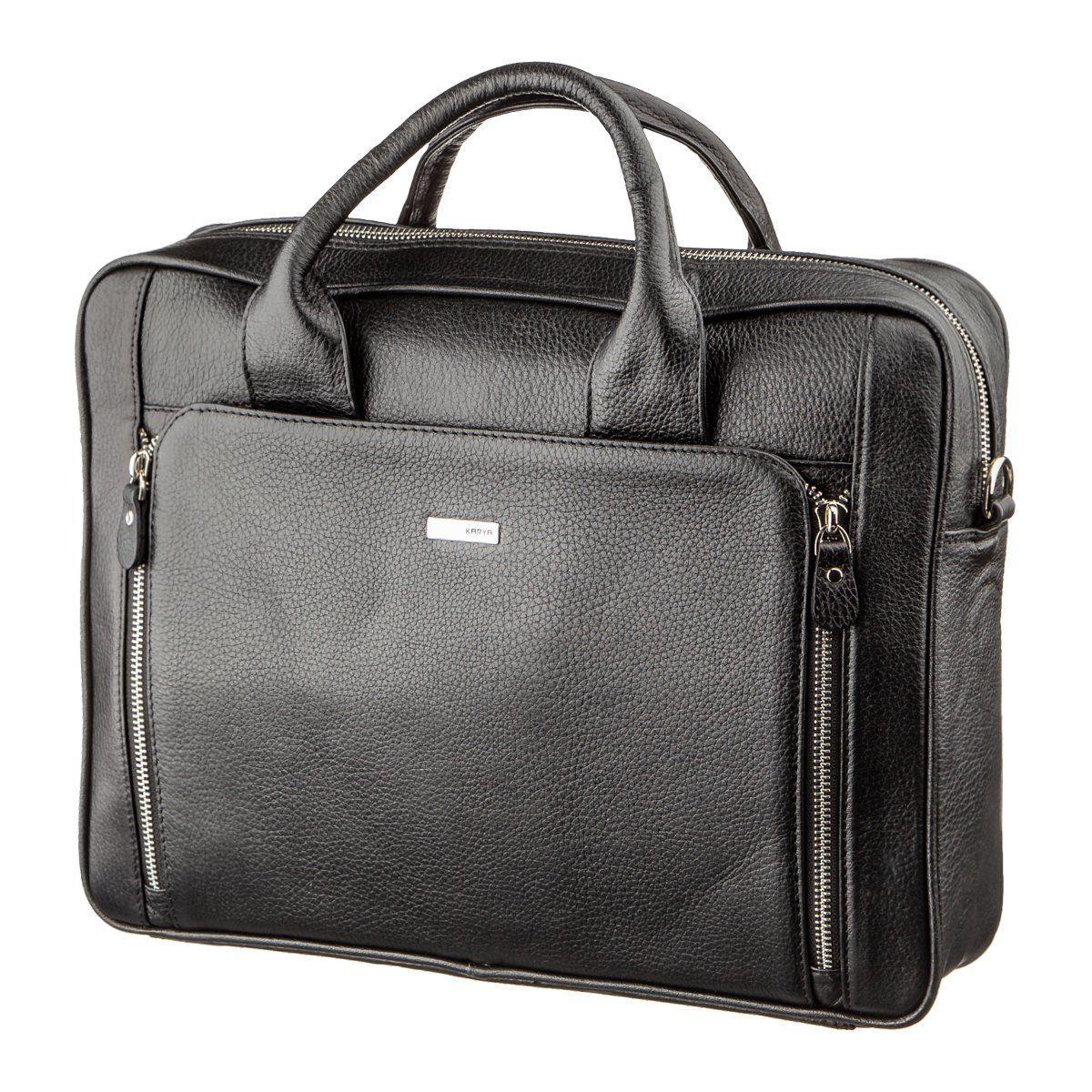 Деловая мужская сумка из кожи KARYA 17284 Черная, Черный