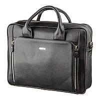 Деловая мужская сумка из кожи KARYA 17284 Черная, Черный, фото 1