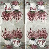 "Салфетка декупажная 33x33 см 5 ""Винтаж ретро Цветы в горшке Прованс лаванда"" Серветка для декупажу"