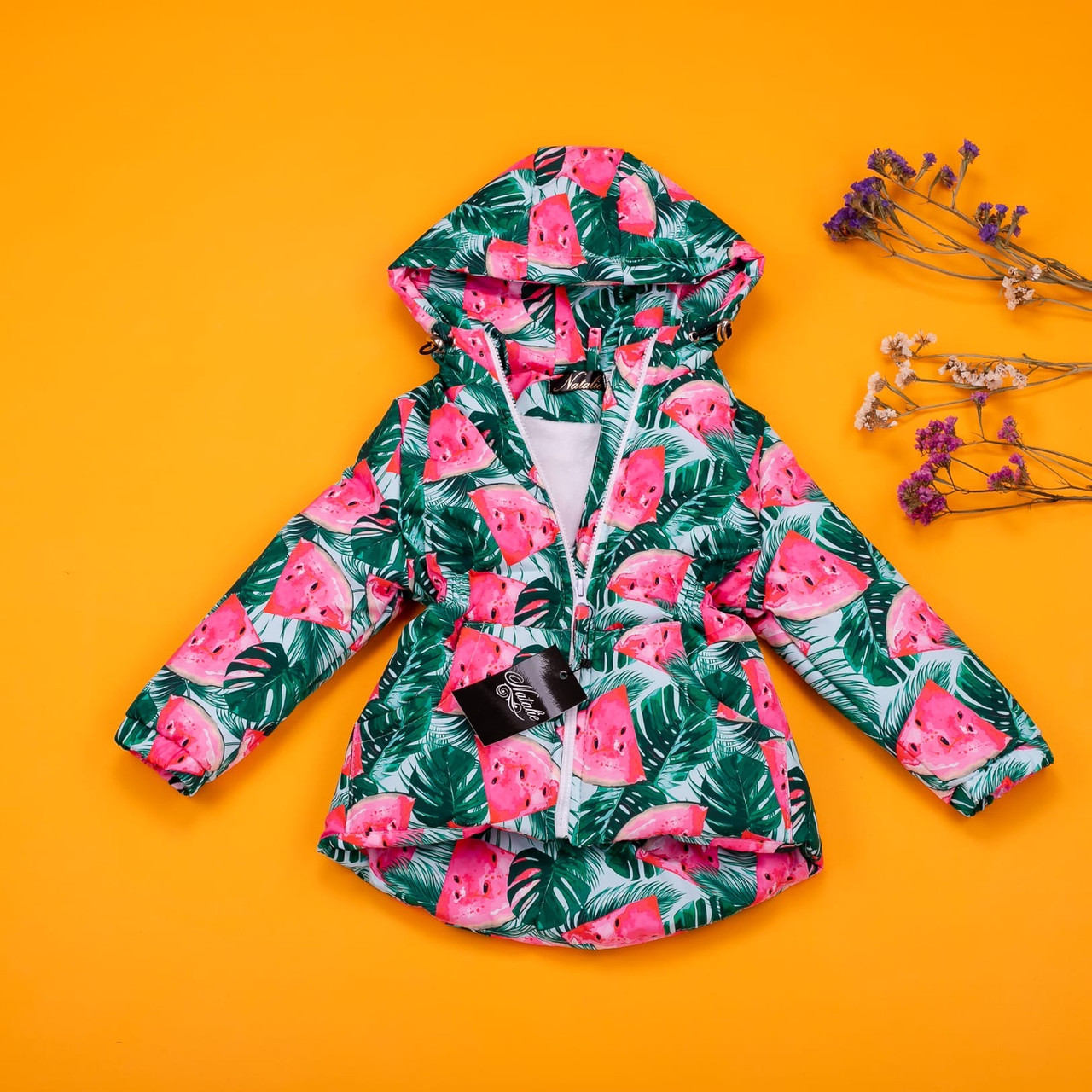 Весенняя парка куртка с принтом арбуз для девочки 80-134 р