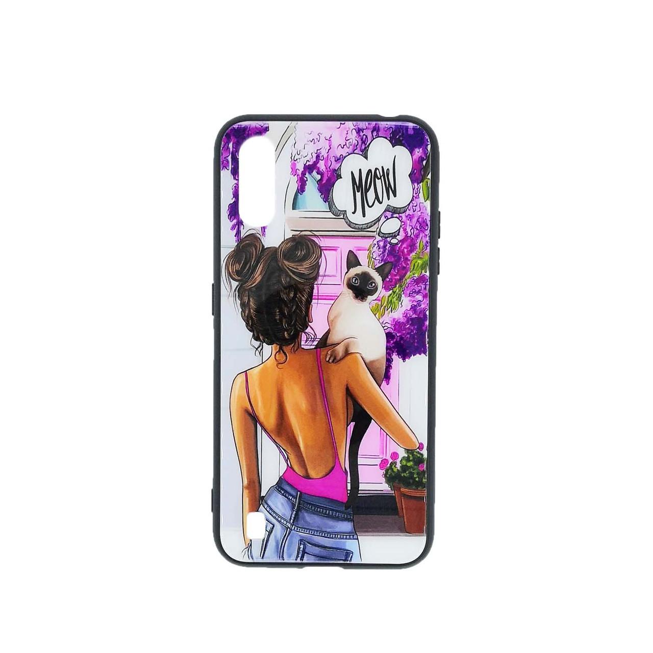 Яркий чехол для Samsung Galaxy A01 A015 со стильным принтом Girl Case, Meow