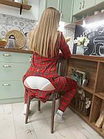 Пижама Попожама в клеточку женская с карманом на попе