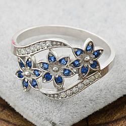 Серебряное кольцо Цветочный букет вставка синие фианиты вес 2.35 г размер 165