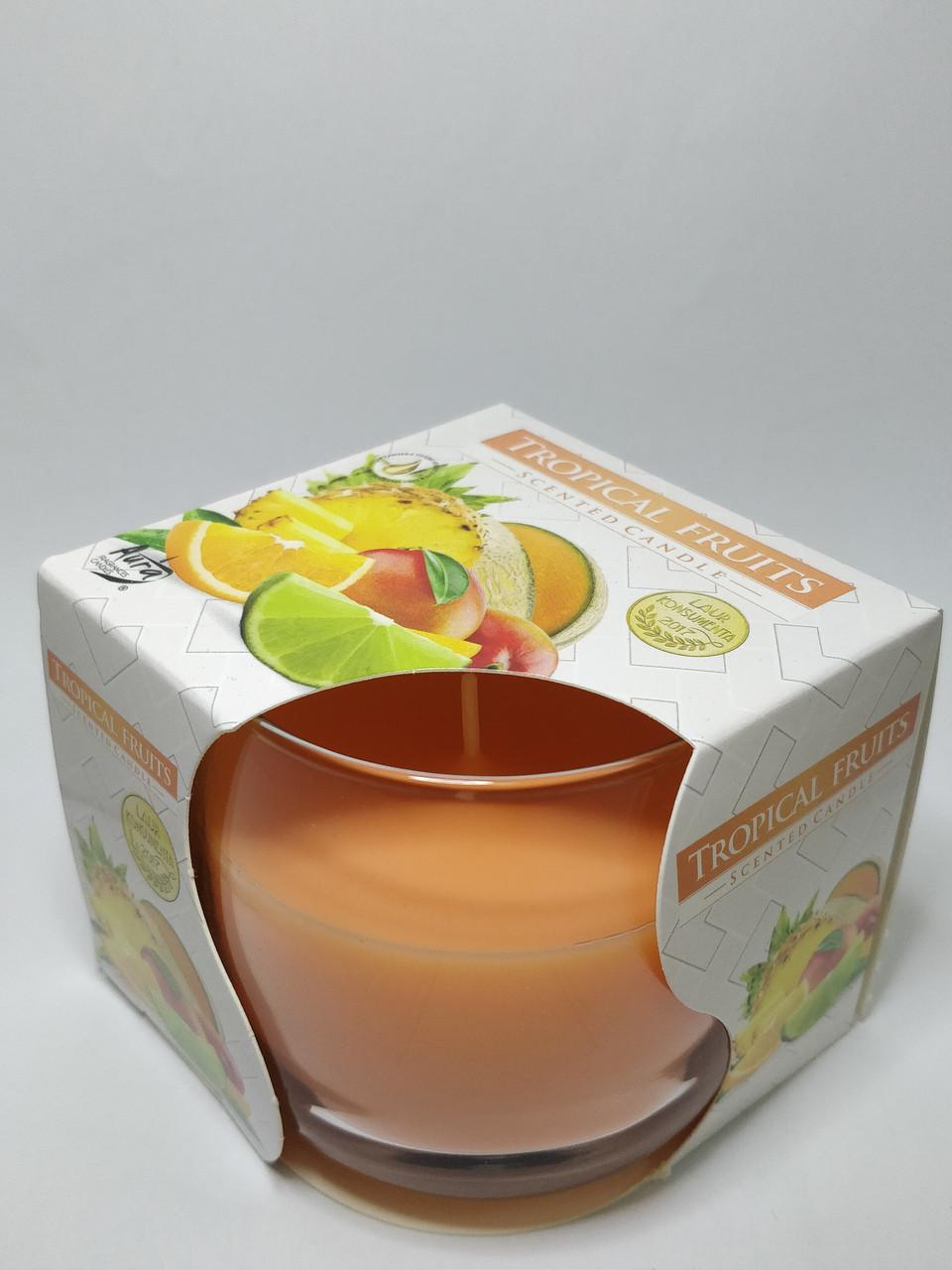 """Ароматическая свеча """"Тропические фрукты"""" диаметр 7 см в стакане"""
