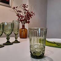 """Набор высоких стаканов из цветного стекла """"Изумруд"""" 350мл*6шт (арт.6441)"""