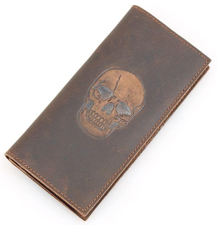 Вертикальный мужской кошелек из натуральной кожи Vintage 14386, Коричневый