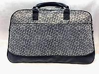 Дорожная женская сумка-саквояж серая с цветами текстильная вместительная