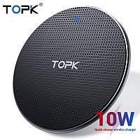 Беспроводное зарядное устройство TOPK 10 Вт Qi для iPhone X XS XR 8 Plus быстрая samsung S8 S9 S10 Xiaomi Mi 9