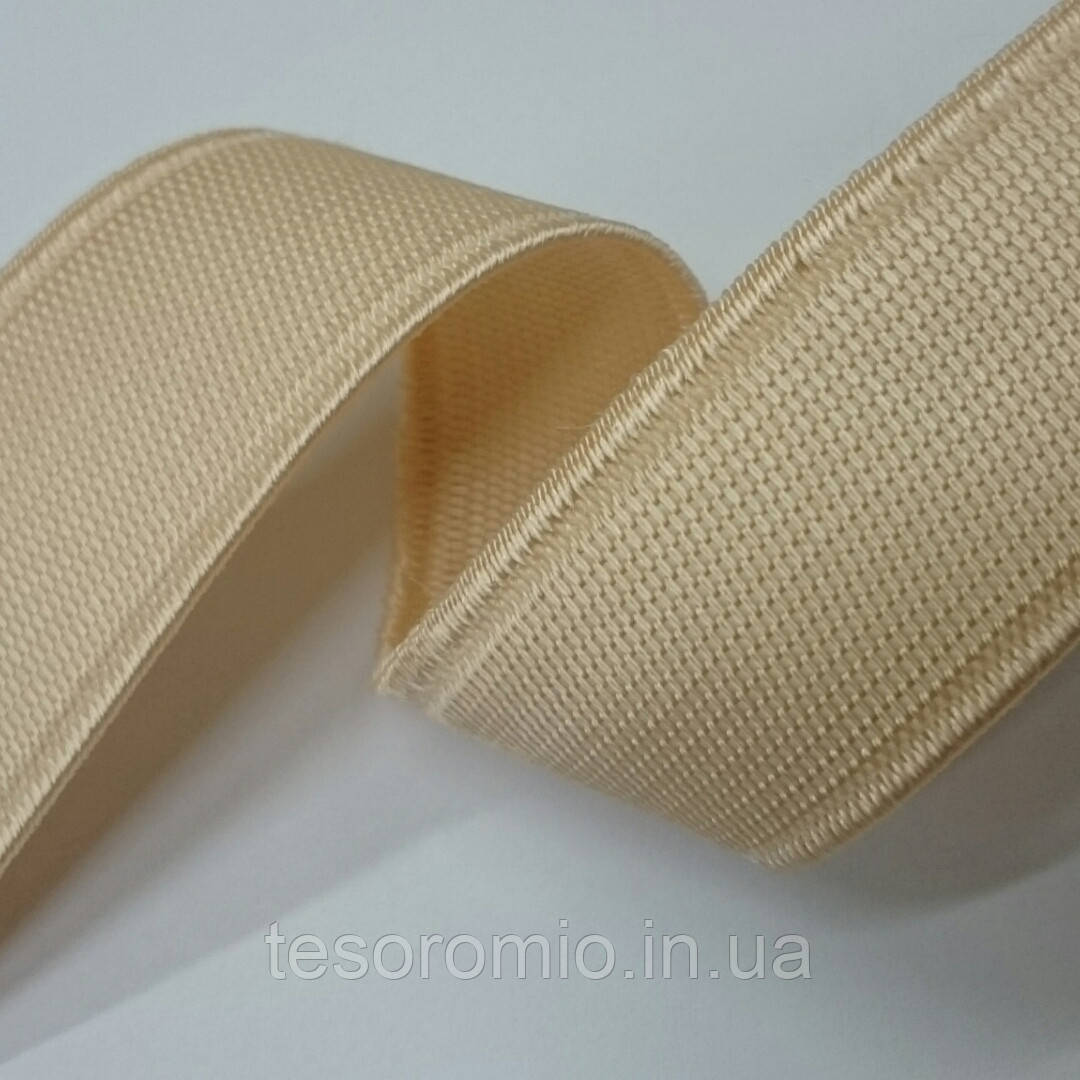 Резинка для одежды, бежевая, средней жесткости  21мм