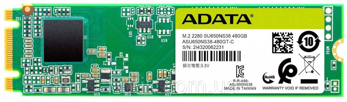 Твердотельный накопитель M.2 120Gb, A-Data Ultimate SU650, SATA3, 3D TLC, 550/510 MB/s (ASU650NS38-120GT-C)