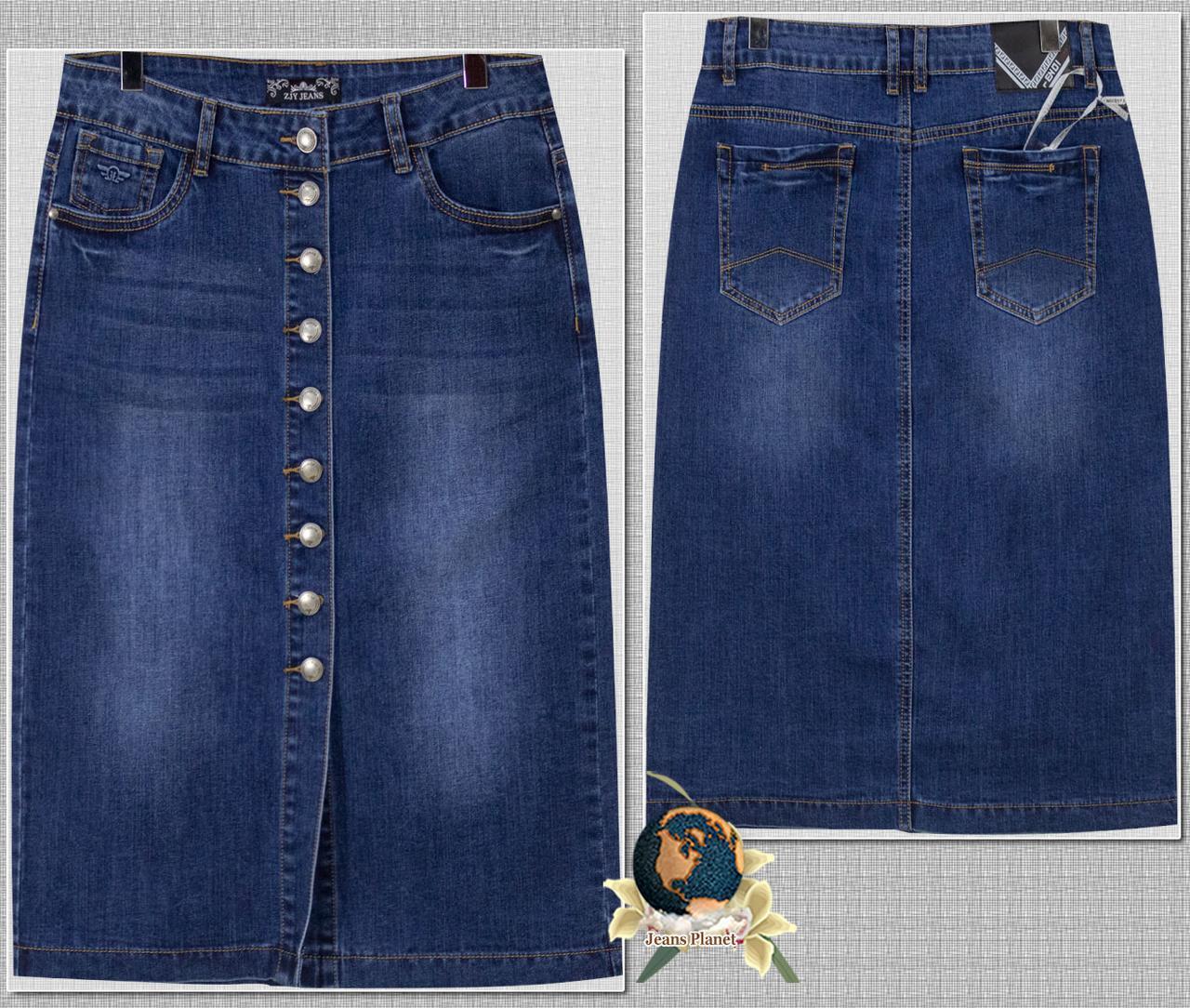 Модная джинсовая юбка миди на пуговицах тёмно-синего цвета