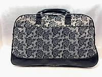 Женская серая дорожная сумка-саквояж текстильная с цветами