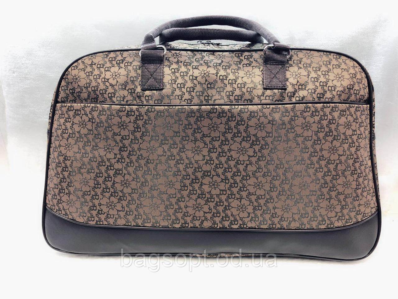 Женская дорожная текстильная сумка-саквояж коричневая с цветами