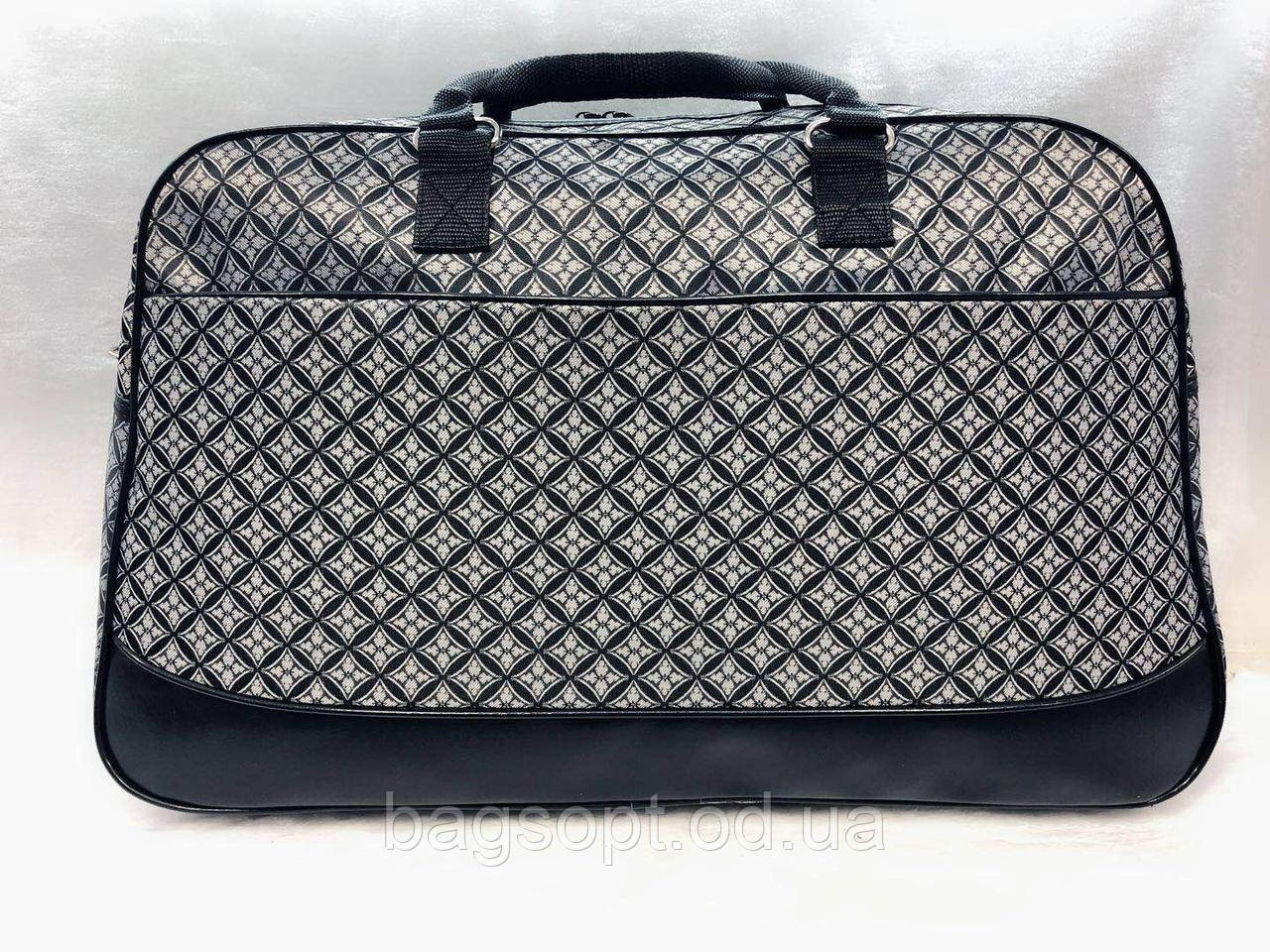Дорожная сумка-саквояж женская серая вместительная текстиль