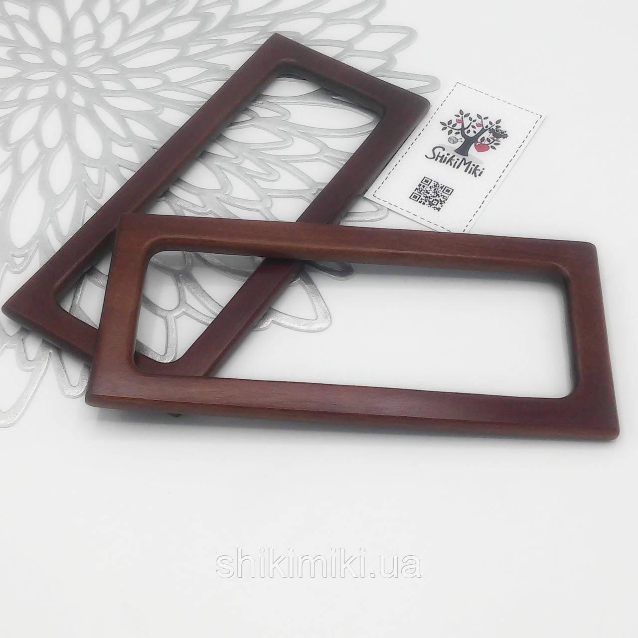 Ручки для сумок деревянные прямоугольные темно коричневые