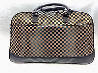 Женская дорожная текстильная сумка-саквояж коричневая в клетку