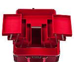 Эксклюзивный алюминевый кейс для косметики с выдвижными полками, цвет - красный ,кожа крокодила., фото 4