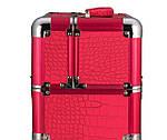 Эксклюзивный алюминевый кейс для косметики с выдвижными полками, цвет - красный ,кожа крокодила., фото 5