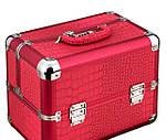Эксклюзивный алюминевый кейс для косметики с выдвижными полками, цвет - красный ,кожа крокодила., фото 6