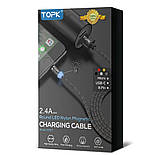 Магнітний Micro USB кабель 2м. TOPK з підсвіткою і круглим конектором. Різні кольори, фото 6