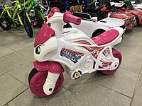 Мотоцикл толокар беговел Технок. Розовый. Музыкальный